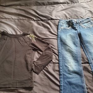 Girls size 10 JUSTICE jeans black top